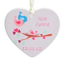 Baby Bird Ceramic Heart - Personalised New Baby Gift